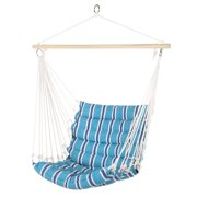 Best Choice Products Indoor Outdoor Padded Cotton Hammock Hanging Chair w/ 40in Spreader Bar - Blue