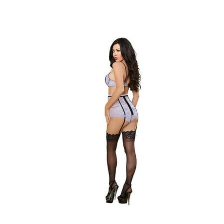 stretch lace underwire bra, garter belt w/removable & adjustable straps & panty lavender/black xl