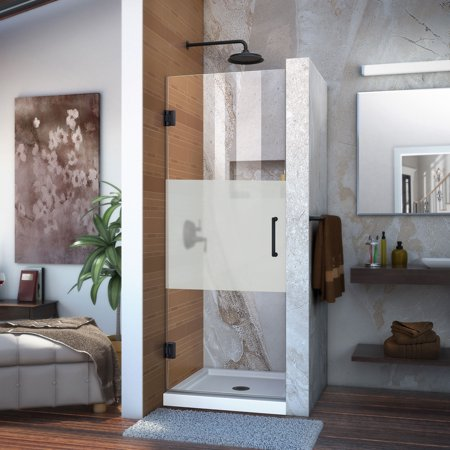 - DreamLine Unidoor 29 in. W x 72 in. H Frameless Hinged Shower Door, Frosted Band Glass, in Satin Black