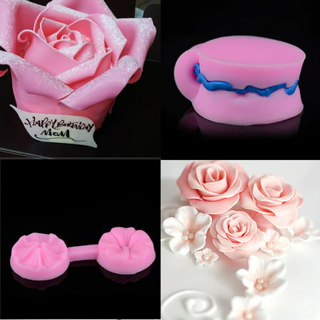 Outtop New Silicone 3D Rose Flower Fondant Cake Chocolate Sugarcraft Mould Mold Tools
