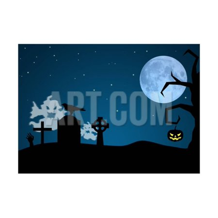 Halloween Ghosts in Graveyard Print Wall Art By SorayaShan](Lighting For Halloween Graveyards)