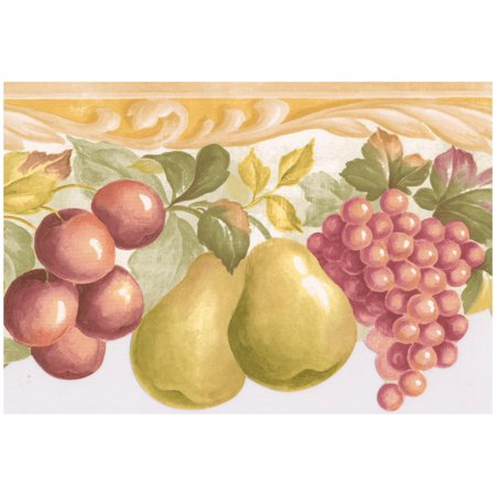 Prepasted Wallpaper Border - Red Apple Purple Plum Green Pear Pink Grapes  Scalloped Kitchen Wall Border Retro Design, Roll 15 ft. x 7 in.