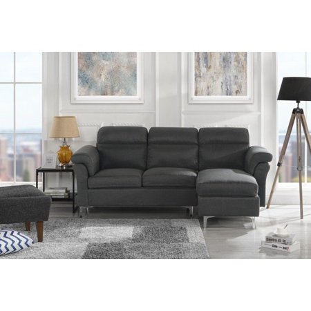 Modern Linen Fabric Sectional Sofa - Small Space Couch (Dark Grey)