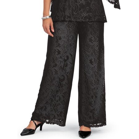 Women's Elegant Wide Leg Lined Lace Pants with Elastic Waistband, X-Large, Black - Made in the USA ()