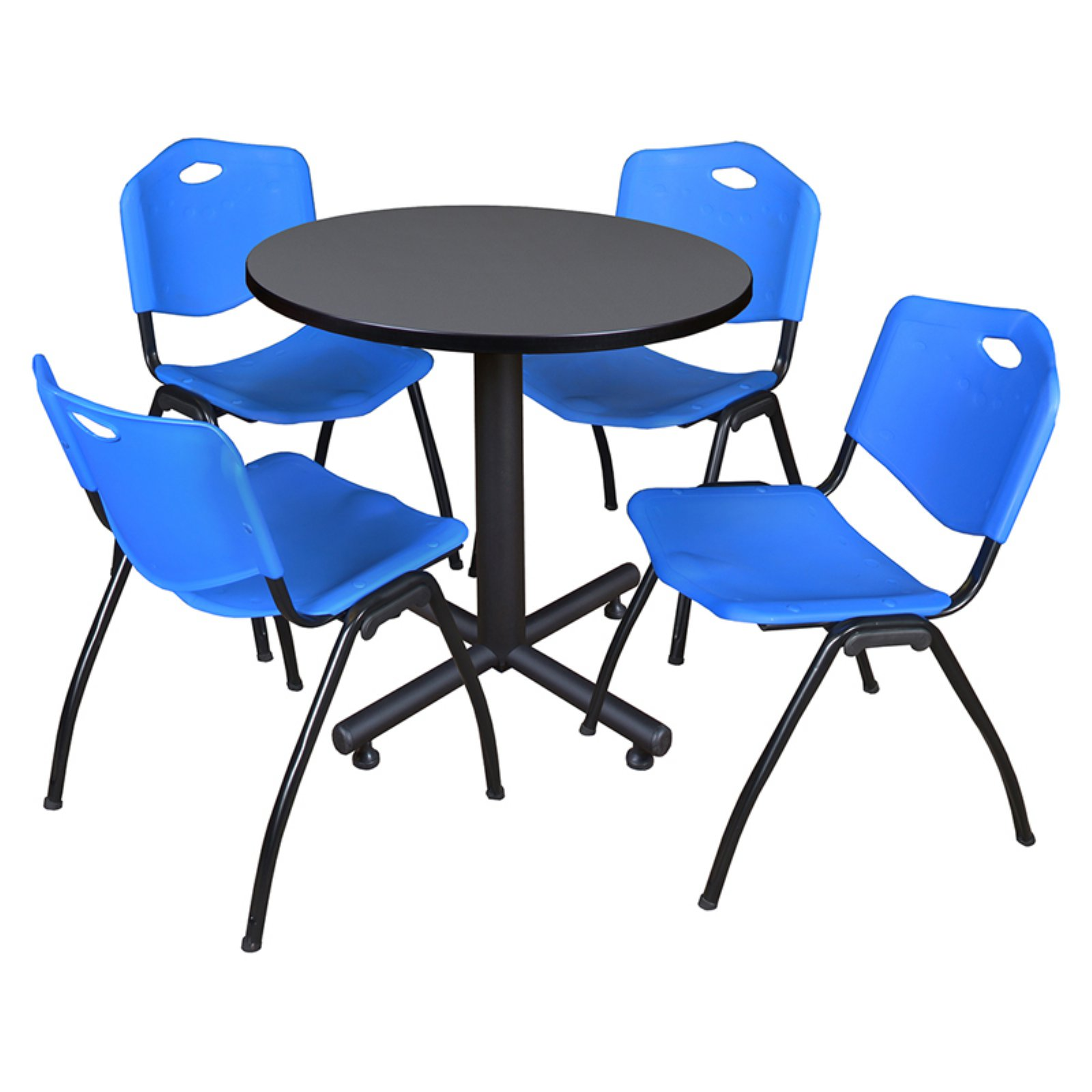 """Kobe 48"""" Grey Round Breakroom Table and 4 'M' Stack Chairs, Multiple Colors"""