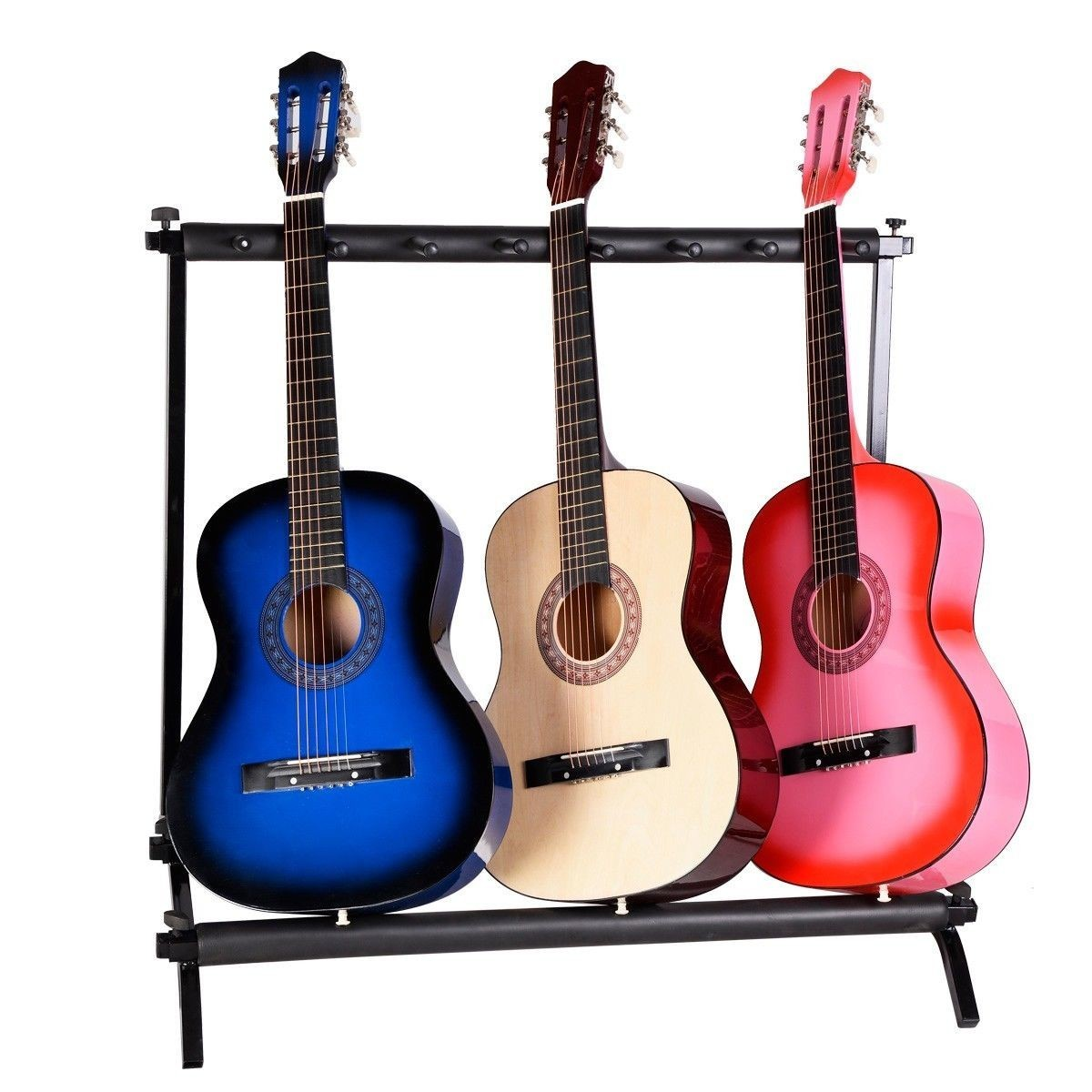 7 Guitar Electric Acoustic Bass Rack Holder Storage Organizer Folding Stand New by Apontus