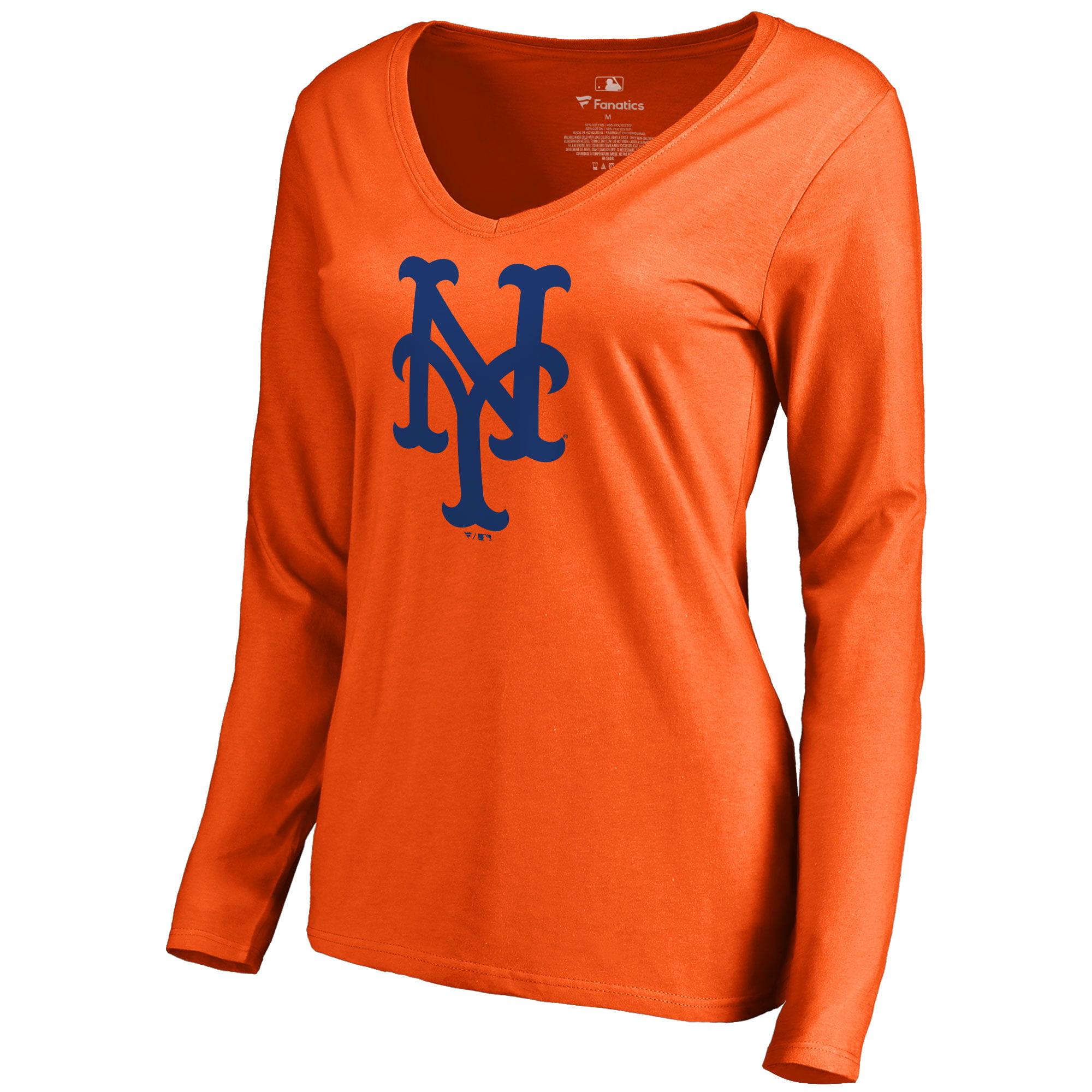 New York Mets Women's Secondary Color Primary Logo Long Sleeve T-Shirt - Orange