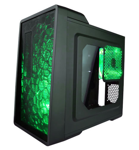 Apevia Mid Tower ATX Case with Window and 500W PSU (Green)