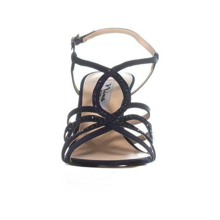 Nina Amabel Slim Heel Strappy Sandals, New Navy Luster - image 4 of 6