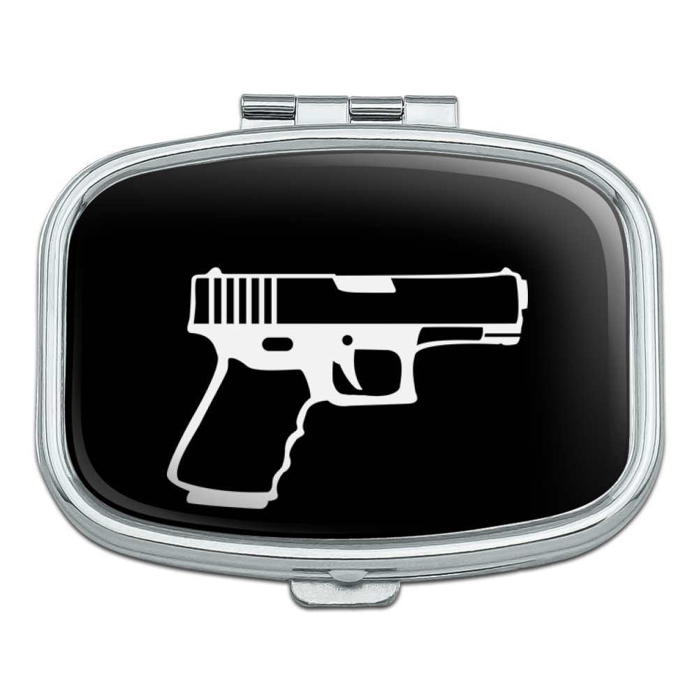 Gun Handgun White on Black  Rectangle Pill Case Trinket Gift Box