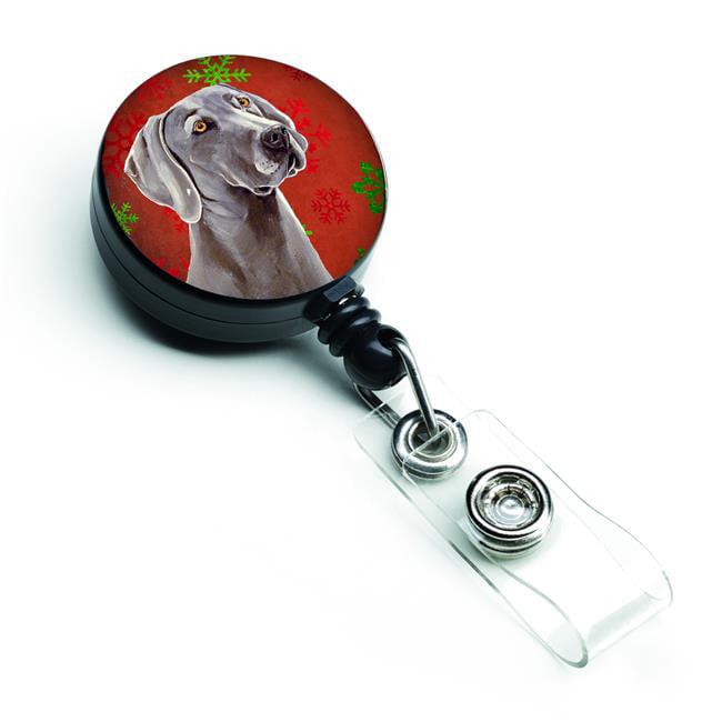 Carolines Treasures LH9341BR Weimaraner Red & Green Snowflakes Holiday Christmas Retractable Badge Reel - image 1 of 1