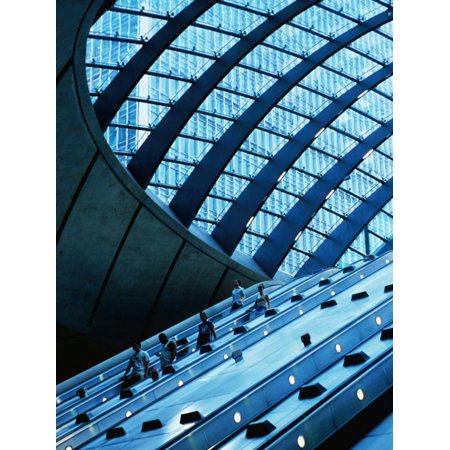 Canary Wharf London (Escalators and Glassed in Roof at Canary Wharf Underground Station, London, England Print Wall Art By Neil Setchfield)