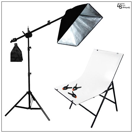 LED Single Softbox Product Photography Lighting Kit with Plexiglass Shooting Table and Boom Arm Stand by Loadstone Studio WMLS0136