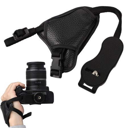 Universal Leather Hand Grip Strap,  Mounting Screw Adjustable Padded Camera Wrist Strap Hand Grip Compatible with Nikon Canon Sony Pentax Olympus Panasonic SLR DSLR Cameras ()