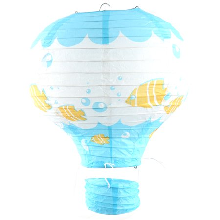 Feast Paper Fish Pattern DIY Hanging Hot Air Balloon Lantern Blue 10 Inches Dia - Fish Paper Lanterns