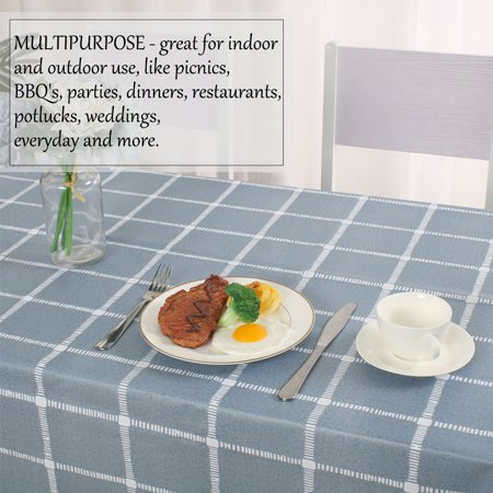 "Tablecloth PVC Oil Stain Resistant Plaid Pattern for Rectangle Table 54""x79"",#1 - image 3 de 7"