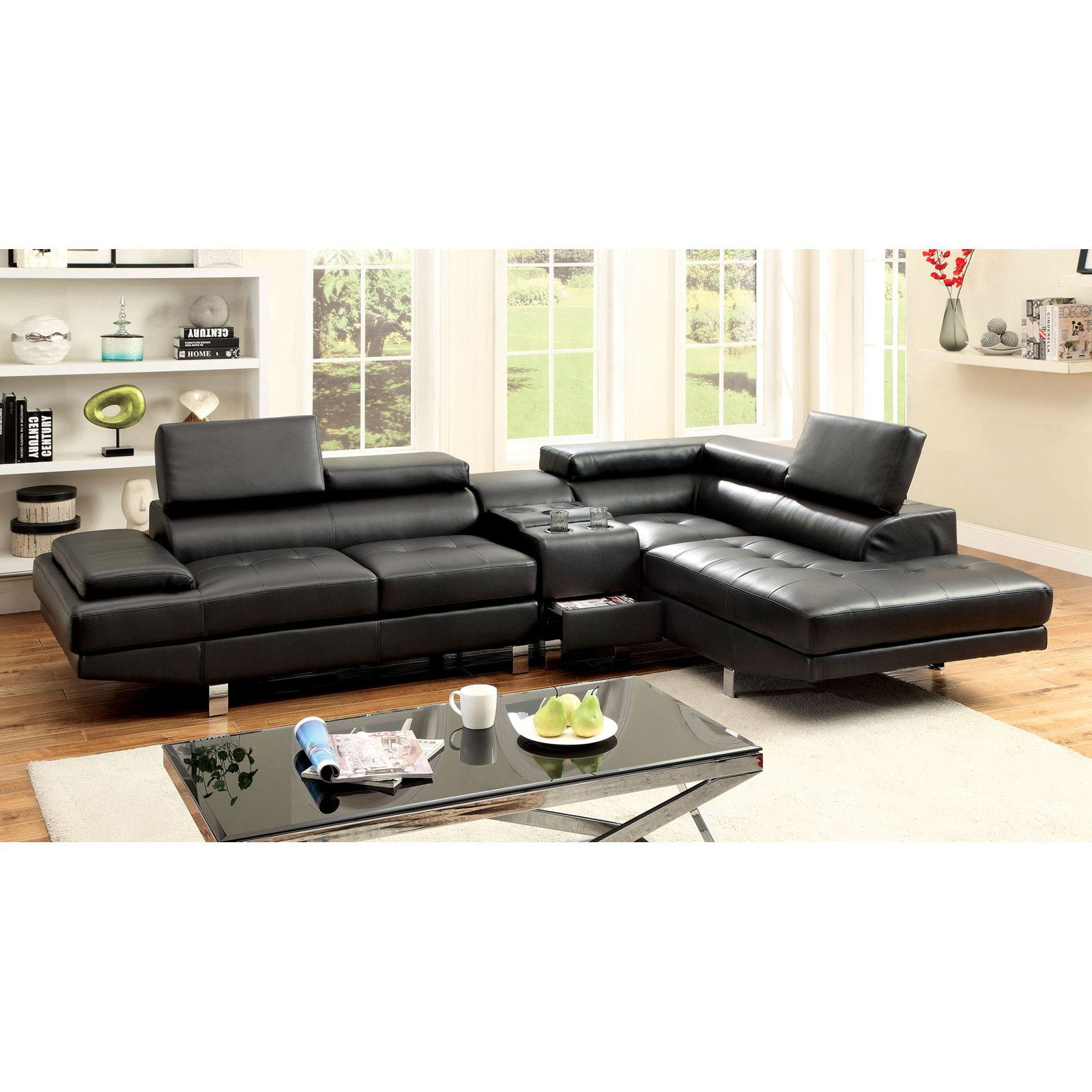 Furniture of America Hope 2 Piece Sectional Sofa with Optional
