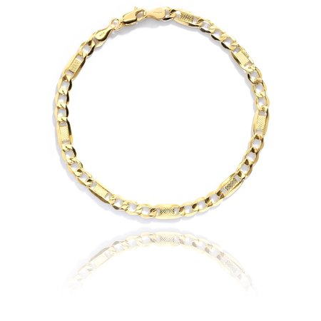 10k Figaro Anklet - Floreo 10k Yellow Gold Hollow Bar Figaro Chain Bracelet and Anklet with Lobster Claw Clasp for Women and men, 5mm