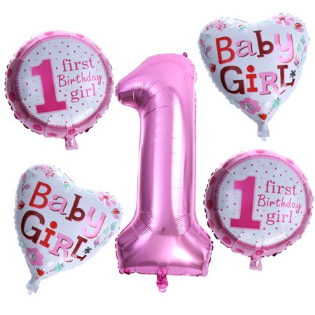 5pcs Baby Girls 1st Birthday Party Foil Balloons Set Supplies Baby Shower Decorations(Pink) - First Birthday Party Ideas Girl