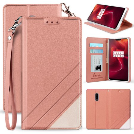 OnePlus 6T Case, New Infolio Wallet Credit Card Slot ID Cover, View Stand  [with Wrist Strap Lanyard] for T-Mobile OnePlus 6T (A6010/A6013)