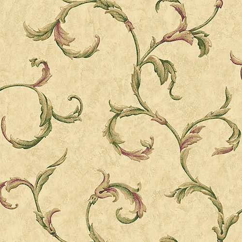Blue Mountain Fresco Scroll Wallcovering, Golden Yellow and Sage Green