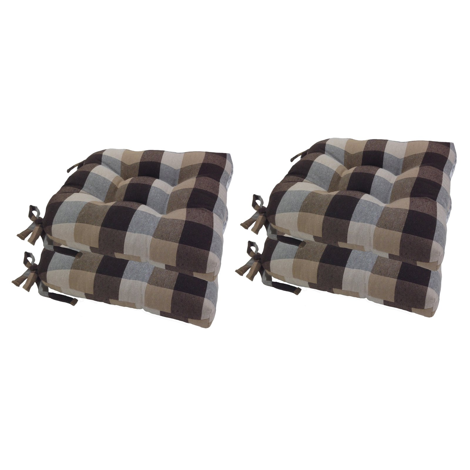 Arlee 16 x 16 in. Buffalo Check Woven Plaid Chair Pad Set of 4 by Arlee Home Fashions Inc