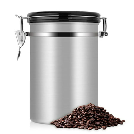 1.8L Coffee and Food Storage Container - Durable Large Capacity Airtight  Coffee Jar - Stainless Steel Kitchen Storage Canister for Coffee Beans, Tea  ...