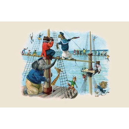 Climbing the rigging of a sailing vessel was the best way to see far off in the distance  It was easy for the monkeys but the elephant was having a hard time  The Animals Trip to the Sea was a (Best Monkey To Have As A Pet)