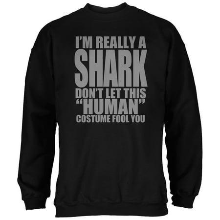 Halloween Human Shark Costume Black Adult Sweatshirt (Finn The Human Adult Costume)