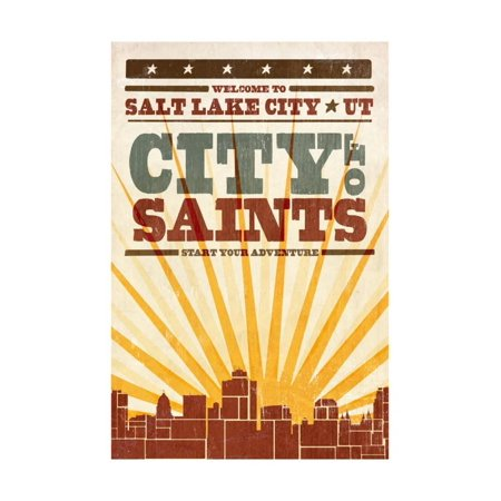 Salt Lake City, Utah - Skyline and Sunburst Screenprint Style Print Wall Art By Lantern - Costume Store Salt Lake City