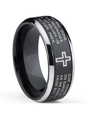 Two Tone Black Titanium Lords Prayer Ring Band
