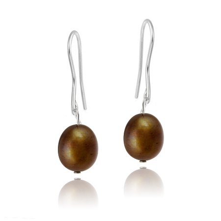 Stainless Steel Baroque Freshwater Cultured Champagne Pearl Dangle Earrings Freshwater Stainless Steel Earrings