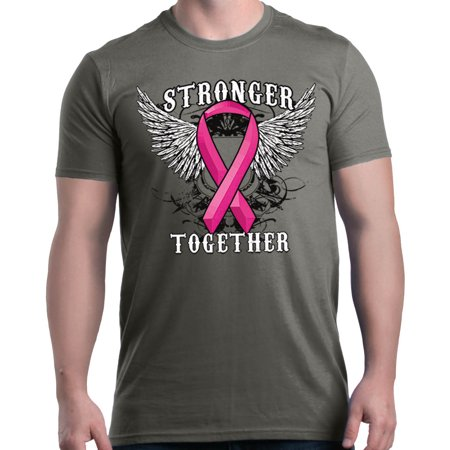 Shop4Ever Men's Stronger Together Breast Cancer Awareness Graphic T-shirt