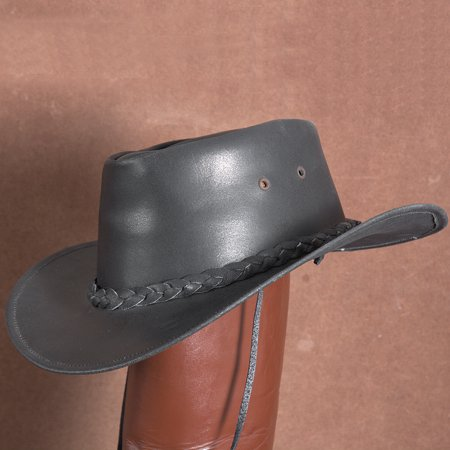 LRG HILASON HAND MADE GENUINE SPLIT ANTIQUE LEATHER CRUSHABLE HAT BROWN 3