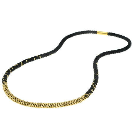 Long Beaded Kumihimo Necklace - Black & Gold - Exclusive Jewelry (Exclusive Jewelry)