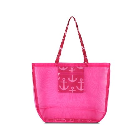 Waterproof Beach Mesh Picnic Hand Bag by Zodaca Shoulder Tote Carry Bag for Shopping Outdoor Activity - Pink Anchors with Pink Trim