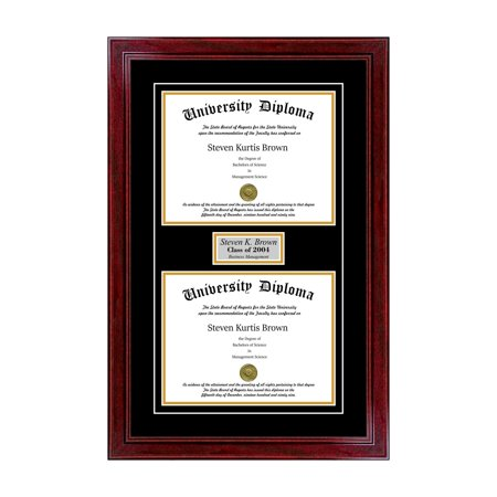 - Personalized Double Diploma Frame with Double Matting for 8.5