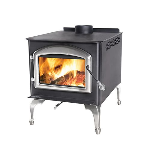 1400ML Napoleon Medium Leg Wood Burning Stove, Metallic Black