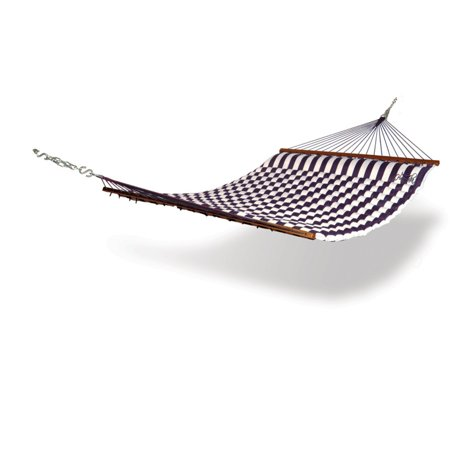 Hammaka Pillow Top Double Hammock Lying in the Hammaka Pillow Top Double Hammock is like being on a personal beach right in the comfort of your own backyard. Constructed of 600-denier polyester cover construction, this product securely holds fluffy ComfortFoam fill material for a luxurious feel. Two people with a capacity up to 450-pounds can adequately fit in this hammock that is unfurled by the dark wood spreader bar. Serving function as well as beauty, the blue and white striped design is simple, yet eloquent. Hammaka Hammaka products, now brought to you by King's Pond, are designed to provide a comfortable getaway from all of life's stresses. It all started with the Original Hammaka Hammock Chair, but the wide variety of luxurious chairs is constantly growing in order to give you the perfect fit