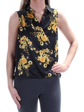 6ddbf7ab79536 Product Image INC Womens Yellow Floral Sleeveless Collared Faux Wrap Top  Size  XS