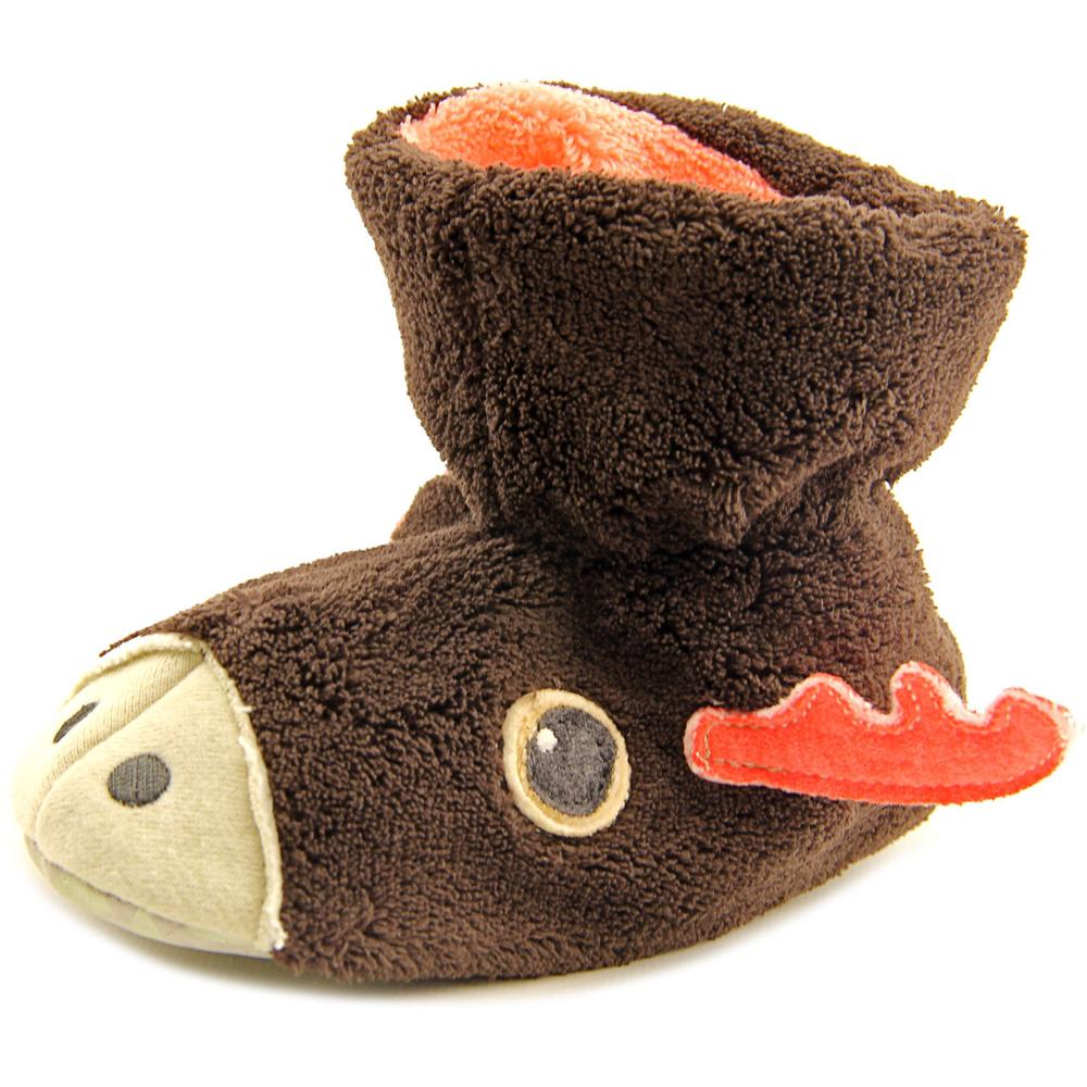 Acorn Kids Easy Critter Moose Toddler  Round Toe Canvas Brown Slipper