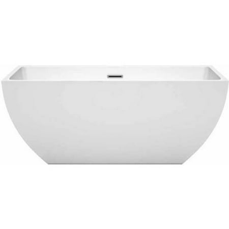 Wyndham Collection Rachel 59  Freestanding Bathtub In White With Polished Chrome Drain And Overflow Trim