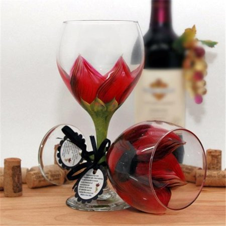 Judi Painted it SUN-R Sunflower Wine Glass, Autumn Red