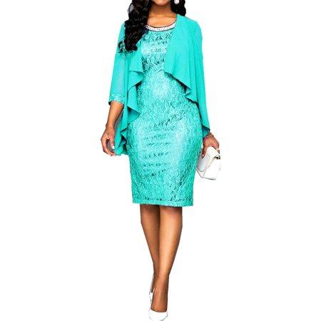 Plus Size Women Lace Knee-length Dress with 2 Pieces Dress Set