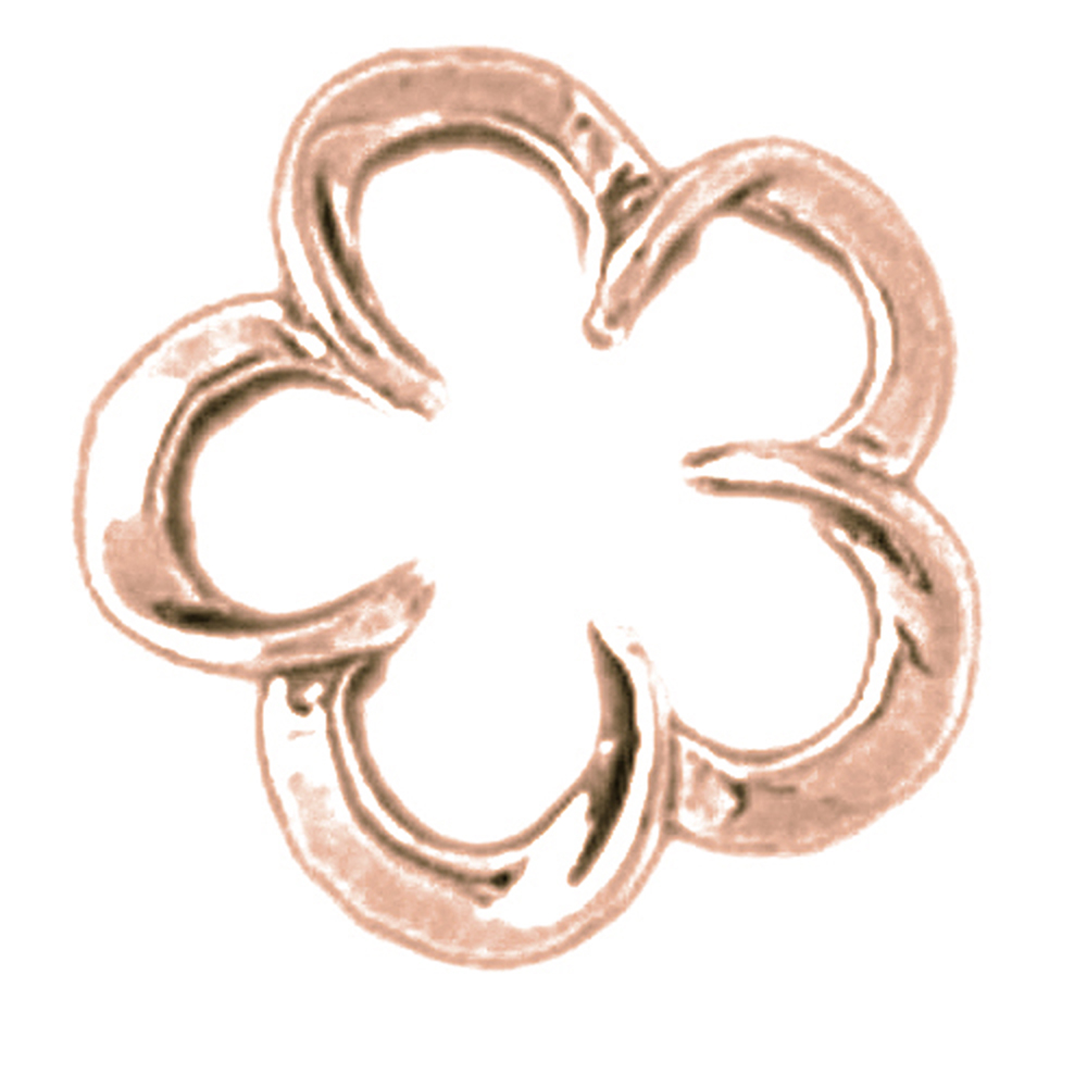 Rose Gold-plated 925 Sterling Silver Flower Pendant - 14 mm (Approx. 0.85 grams)