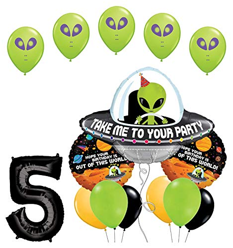 Space Alien 5th Birthday Party Supplies Balloon Bouquet Decorations