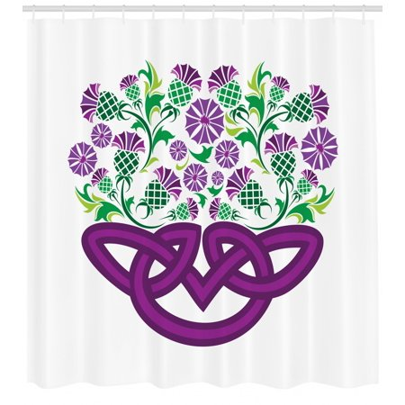 Thistle Shower Curtain, Celtic Knot and Thistle Plant in Basket Form with Flowers, Fabric Bathroom Set with Hooks, 69W X 70L Inches, Shamrock Green Violet ans Purple, by