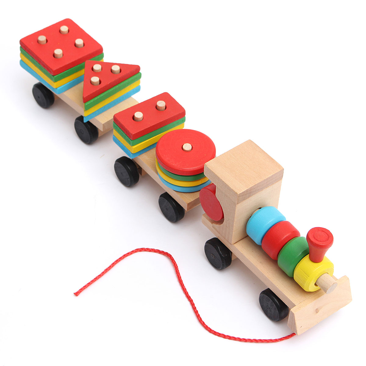 Wooden Toy Stacking Learning Train Wooden Blocks For Boys