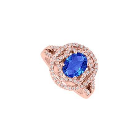 Oval Sapphire and CZs Engagement Ring 14K Rose Vermeil - image 1 de 4