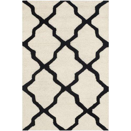 Charlton Home Gillam Hand-Tufted Wool Ivory/Black Area Rug
